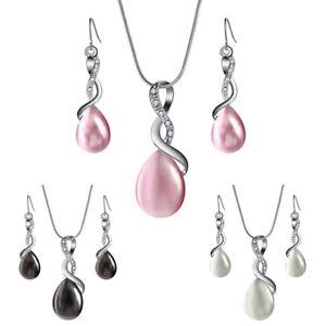 Schmucksets-Opal-Kristall-Tropfen-Anhaenger-Halskette-Ohrringe-Braut-Hochzeit-XJ