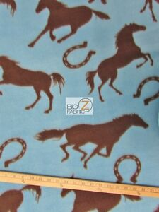 Horse Print Polar Fleece Fabric Horseshoe 60 Width Sold By The