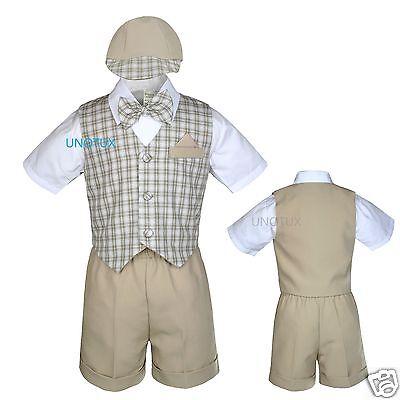 New Infant Boy & Toddler Wedding Bow tie checks Shorts Vest Suit S M L- 4T Khaki