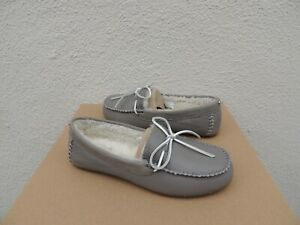 edc18063709 Image is loading UGG-SEAL-GREY-DELUXE-LEATHER-SHEEPSKIN-MOCCASIN-LOAFERS-