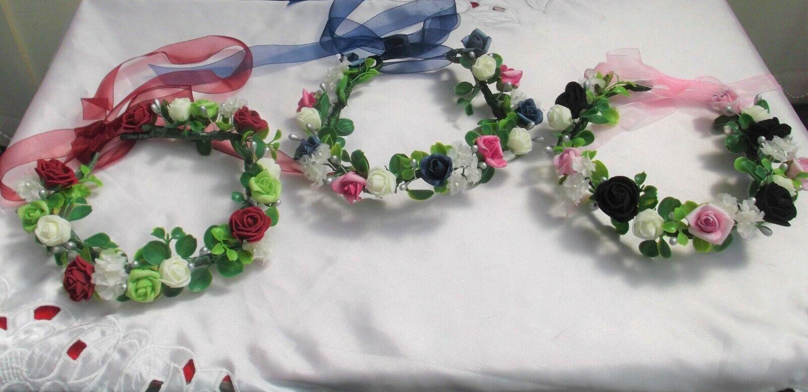 Flower Circlet - Ivory + Burgundy/Green/Silver; Black/Pink/Silver; Navy/Fuchsia