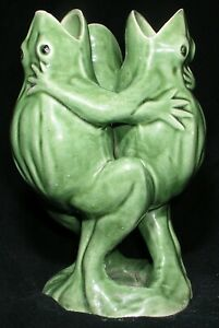 Three-Frogs-Dancing-Singing-Art-Vase-Vtg-Antique-Ceramic-Made-in-Japan-Green