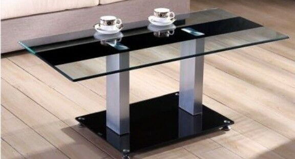 Chrome Glass Metal Rectangle Coffee Table Clear With Black Strip