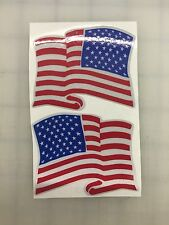 "3"" American Waving Flag 3M REFLECTIVE Stickers (x2)  Decal  USA  Police Fire"