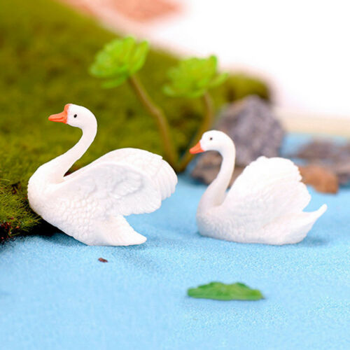 Resin Swan Miniature Figurine Fairy Garden Dollhouse Decor Micro Landscape RS
