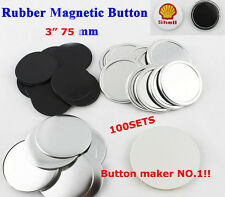 "100Set 3"" 75mm Rubber Magnet Badge Button Parts Supplies for Button Maker DIY"