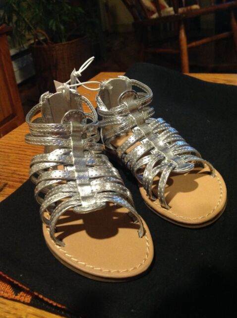 97ece4c81bc Old Navy Gladiator Sandals Silver Toddler Girls Zipper Back Size 5 - new