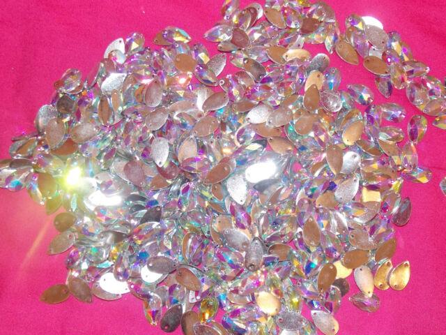 Sew On Stitch clear AB 10x Jewel 18mm GEM CRYSTAL RHINESTONE trim DANCE