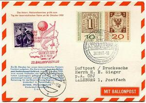 1959 Ballonpost N. 22 Pro Juventute Aerostato Zellerndorf Tag Der Fahne Wien 101 Sensation Confortable