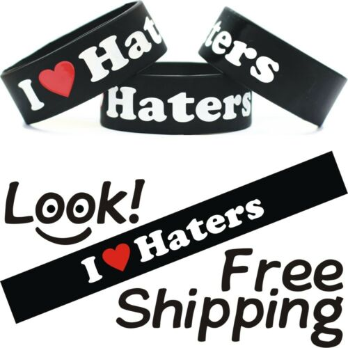 I Love Haters Wristband Bracelet Free Shipping Heart My Haters Wrist Band