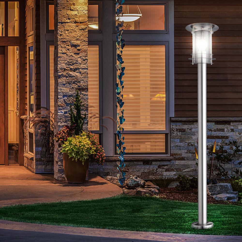 2x LED Design EDELSTAHL Außen Steh Stand Beleuchtung Lampe Leuchte Hof Terrasse