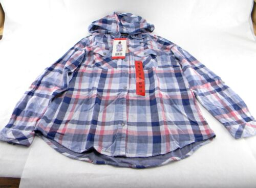 Boston Traders Women/'s Double Face Hooded Flannel Shirt Size M Color Dusty Blue