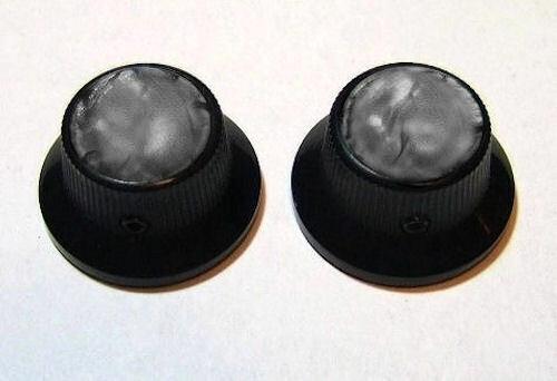 Guitar Part KNOBS BLACK Metal TOP HAT Bell Skirt SMOKE BLACK PEARL TOP Set 2
