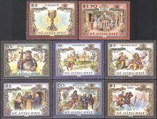St Vincent 1986 King Arthur/Castle/Knights/Jousting/Legends/Books 8v set n40079a