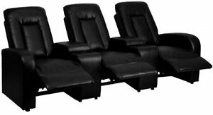 Flash Furniture 3 Seat Black Leather Home Theater Recliner With Storage Consoles
