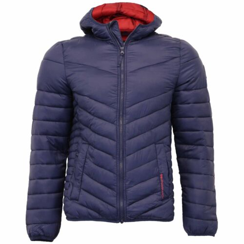 Mens Jacket Crosshatch Coat Padded Wadded Quilted Bubble Hoodie Lined Winter New