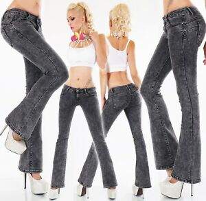 Nouvelle Mode Jeans Femmes Pantalon Coup De Patte D'eph Flare Bootcut Denim Stretch Gris Noir-afficher Le Titre D'origine