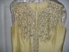 Vintage 1960 SMART MISS CanaryYellow Antique Silk Cocktail Dress Mid Calf SIZE10