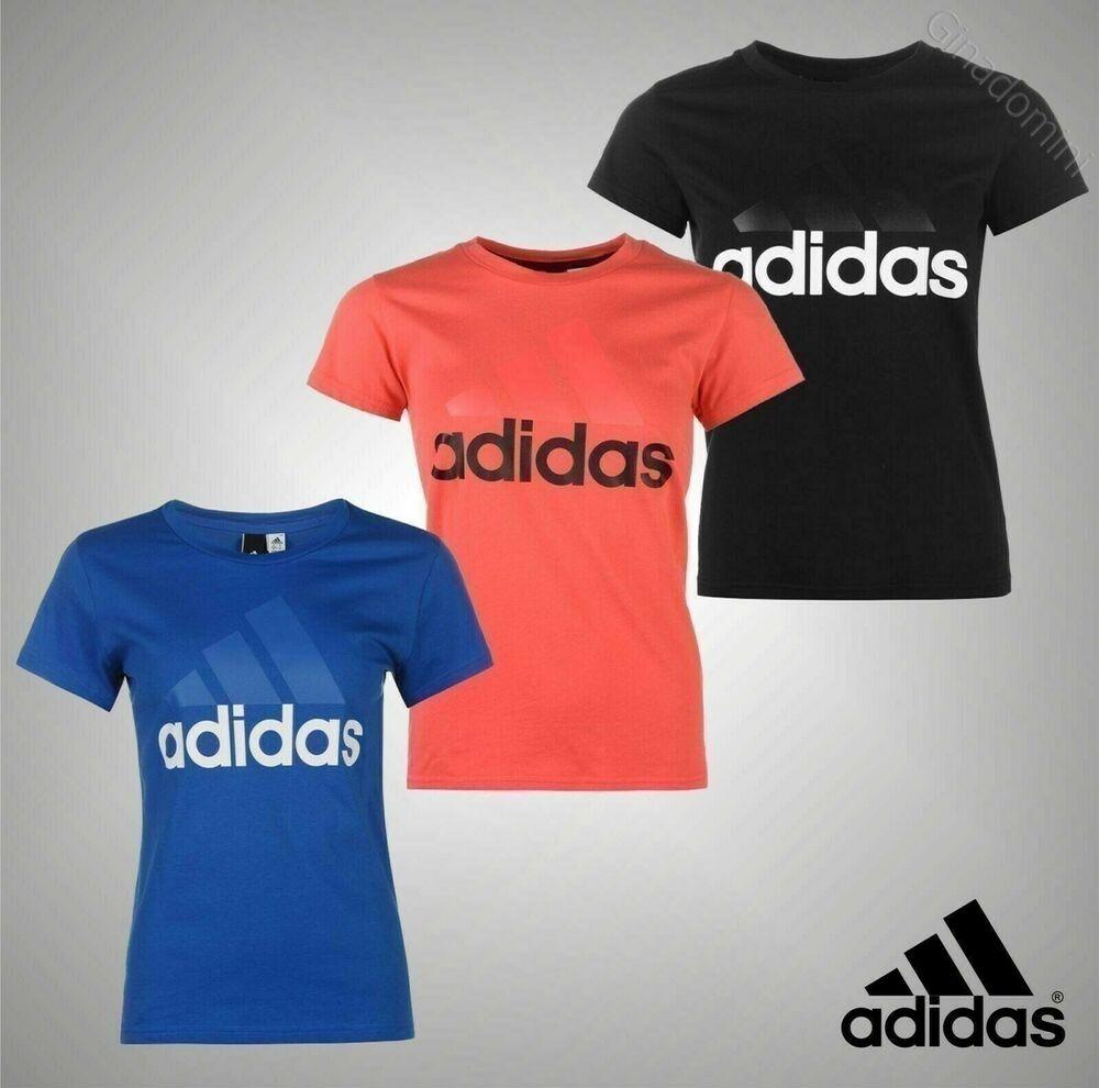 Femmes Véritable Logo Adidas Manches Courtes Sports Linéaire Qt T Shirt Femme Taille 8-22