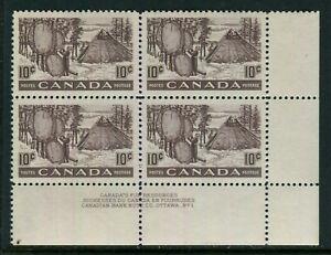 Canada #301, 1950 10c Fur Resources - Drying Skins, LR PB4 Plate No.1 Unused NH