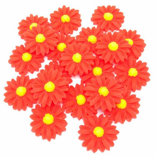10 couleurs 20x Daisy 22 mm shabby chic résine Flatbacks Craft embellissements