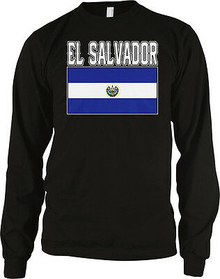 El Salvador Flag Colors Font Salvadoran Soccer Heritage Men/'s V-Neck Ringer Tee