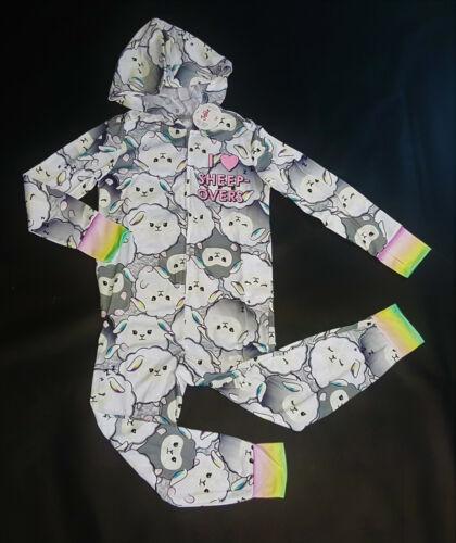 "NWT Justice Kids Girls Size 6//7 /""Sheep Over/"" Rainbow Pajamas Pjs Union Suit"