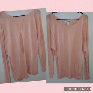 Forever 21 Linen Blend Open Back Blouse Size Medium