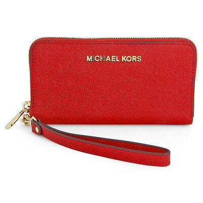 Michael Kors Saffiano Leather Phone Wristlet - Chili Red