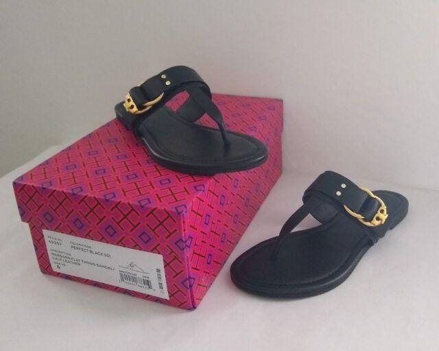 37290167cd0 Tory Burch Marsden Flat Leather Sandal Sz 6 - Black for sale online ...