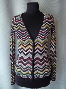 missoni-lindex-cardigan-jumper-multicolour-zig-zag-knit-size-s