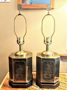 Frederick-Cooper-Chicago-Pair-Vintage-Brass-Table-Lamps-Asian-Bird-Plant-Design