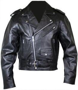 Hombre-Moto-Perfecto-Brando-100-Piel-Chaqueta-con-Cremallera-Negro-Motero