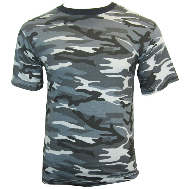 DARK CAMO Cotton Military T-Shirt - ALL SIZES - Army Camouflage Style tops