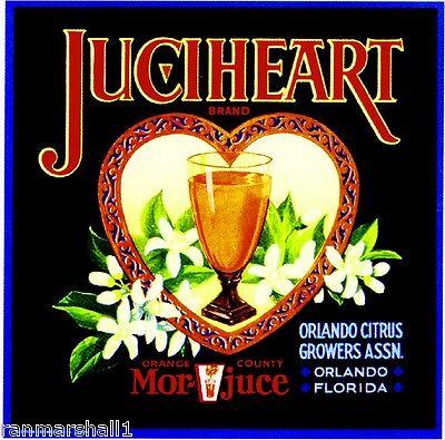 Orlando Florida JuciHeart Orange Citrus Fruit Crate Label Art Print