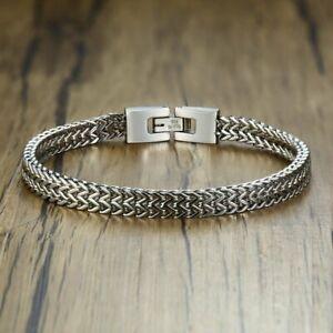 Luxury-Men-Silver-Stainless-Steel-Bracelet-Bangle-Boy-039-s-Cool-Cuff-Wristband-Gift