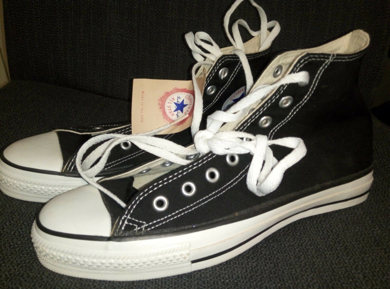 CONVERSE SNEAKERS BLACK NEW WITHOUT BOX SIZE 10 DEAD STOCK MADE IN USA ALL STAR