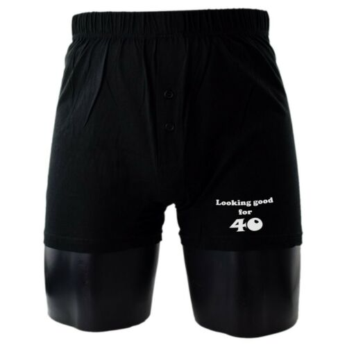 Looking Good for 40 Printed Mens Black Cotton Boxer Shorts 40th Birthday