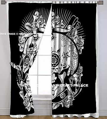 Head of Skull Mandala Tapestry Curtain Indian 2 Valances Drape Panel Boho Decor