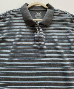 Faded Glory Mens Short Sleeve Polo Shirt 3XL XXXL Gray Blue White Stripes Cotton