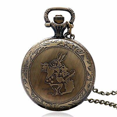 Alice In Wonderland MR.Rabbit Necklace Steampunk Bronze Quartz Pocket Watch Gift