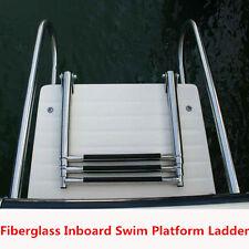 Fiberglass Boat Swim Platform Ladder Stainless 2 Rails 3 Step Telescoping Ladder