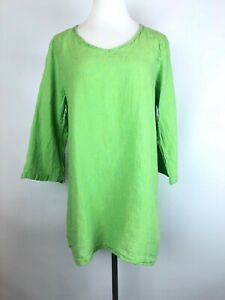FLAX-Lagenlook-Lime-Green-Turquoise-Striped-Textured-Tunic-Top-Linen-Size-S