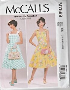 Details about McCall's Sewing Pattern M7599 Misses 14 22 Lined Fit and Flare Dresses Petticoat