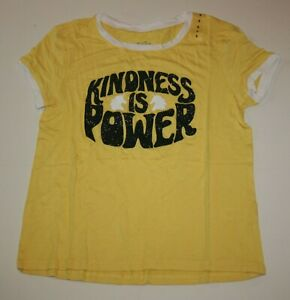 New-Justice-Girls-Top-8-year-Kindness-is-Power-Yellow-Tee-Soft-Viscose-White-Tri