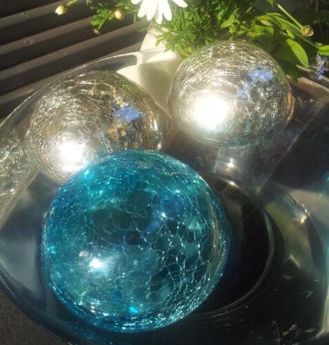 Schwere Schwimmkugel 10cm Türkis Silberantik Craque Kugel Glas Dekoration Metall