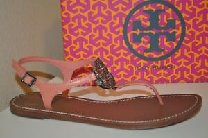 9e575f67acd4 NIB Tory Burch Violet Leather Thong Flat Sandals Shoe Sz 9.5 Crystal ...