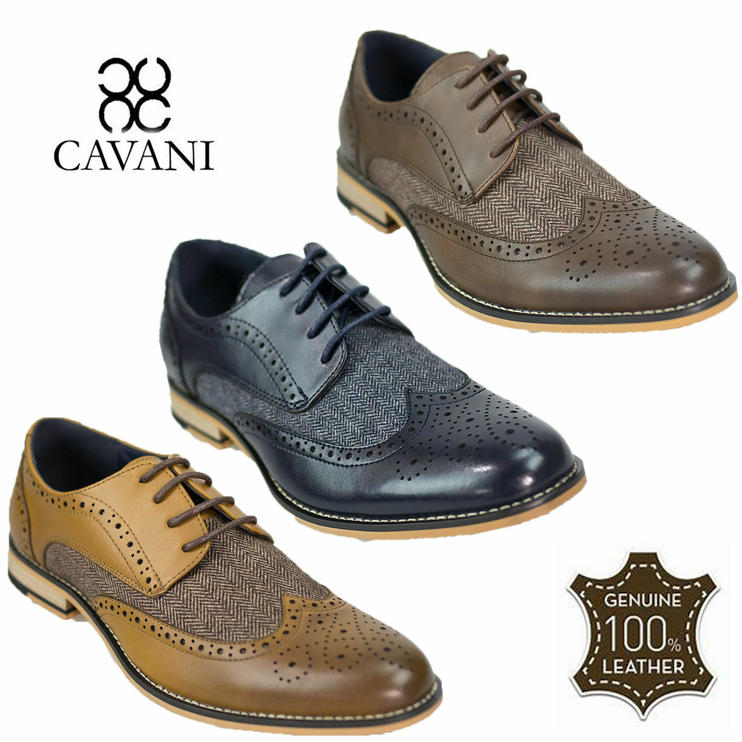 Mens Real Italian Leather Cavani Tweed Contrast Brogues Lace Up Formal schuhe