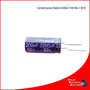 Condensateur chimique 2200uF 50V radial 105°c                   CHRT502200