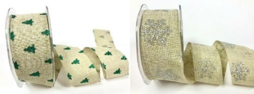 Bertie's Bows Faux Linen 38mm Christmas Glitter Ribbon - sold by the metre